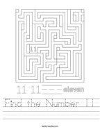 Find the Number 11 Handwriting Sheet