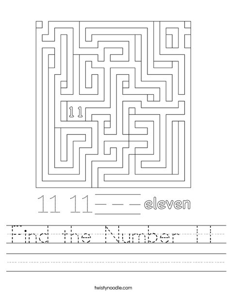 Find the Number 11 Worksheet