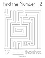 Find the Number 12 Coloring Page