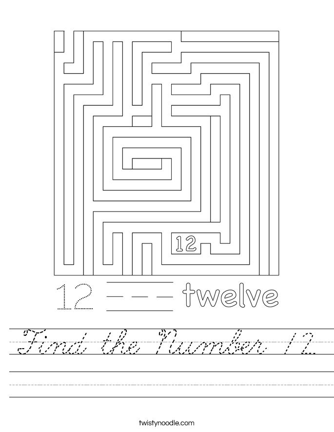 Find the Number 12 Worksheet