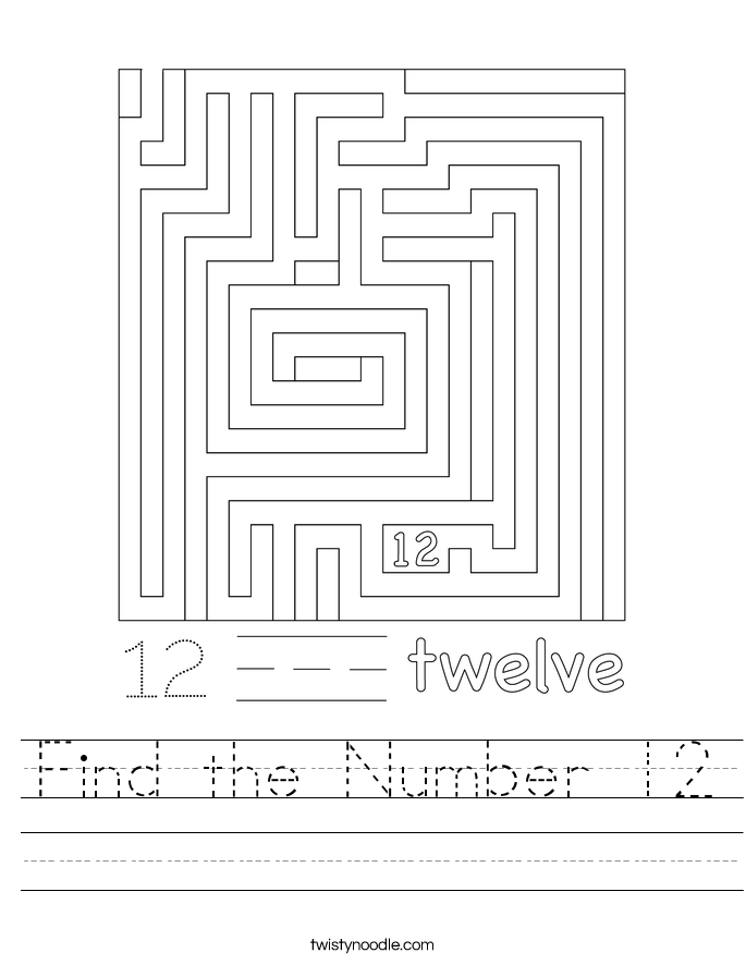 Find the Number 12 Worksheet