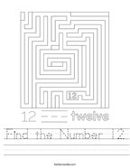 Find the Number 12 Handwriting Sheet