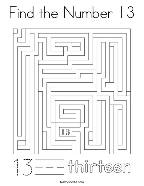 Find the Number 13 Coloring Page