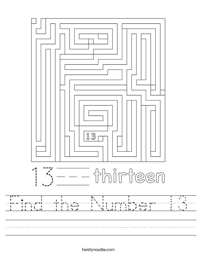 Find the Number 13 Worksheet