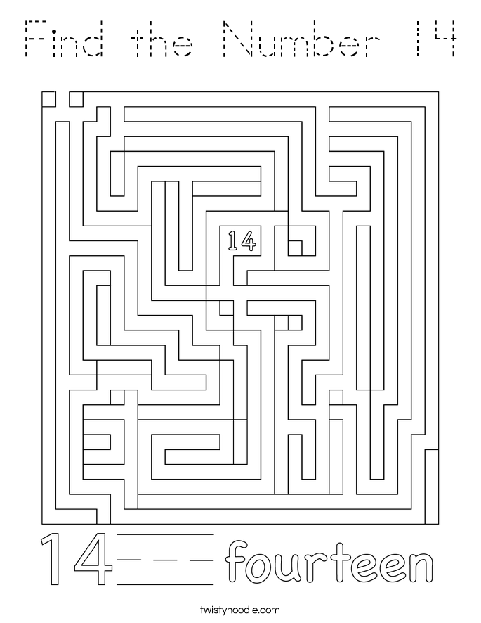 Find the Number 14 Coloring Page