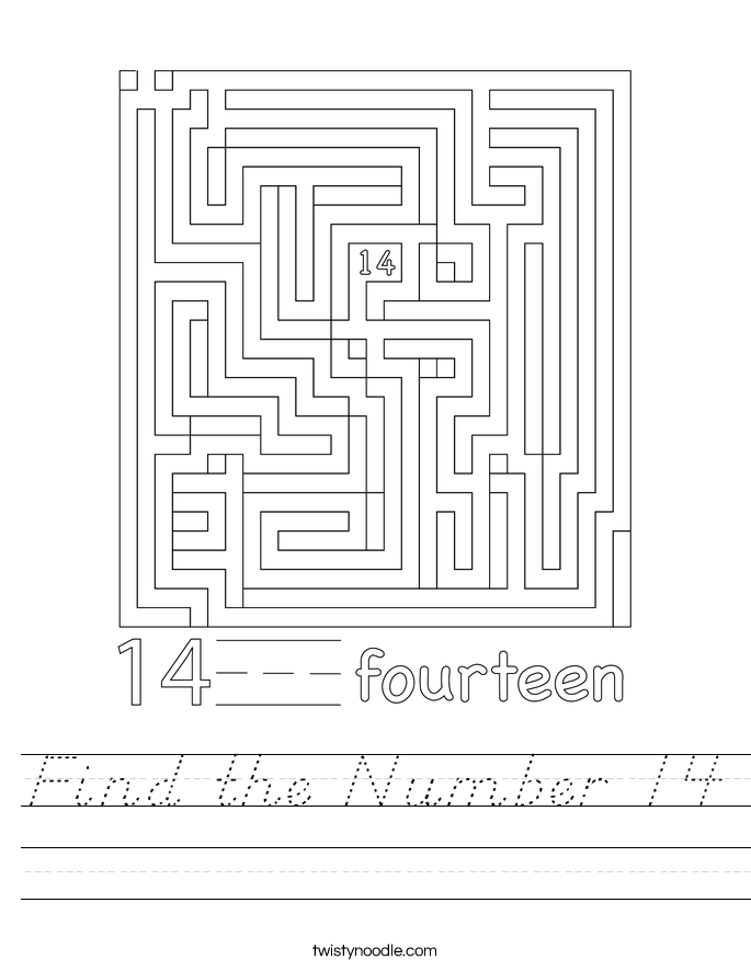 Find the Number 14 Worksheet