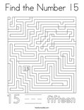 Find the Number 15 Coloring Page