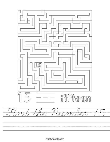 Find the Number 15 Worksheet