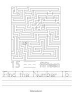 Find the Number 15 Handwriting Sheet