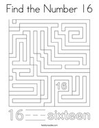 Find the Number 16 Coloring Page