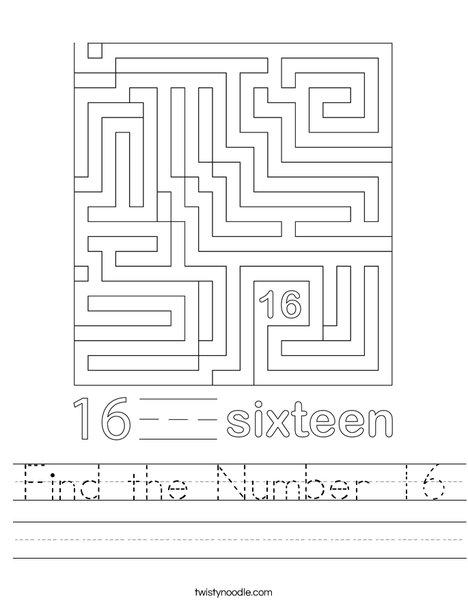 Find the Number 16 Worksheet