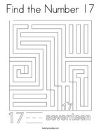 Find the Number 17 Coloring Page