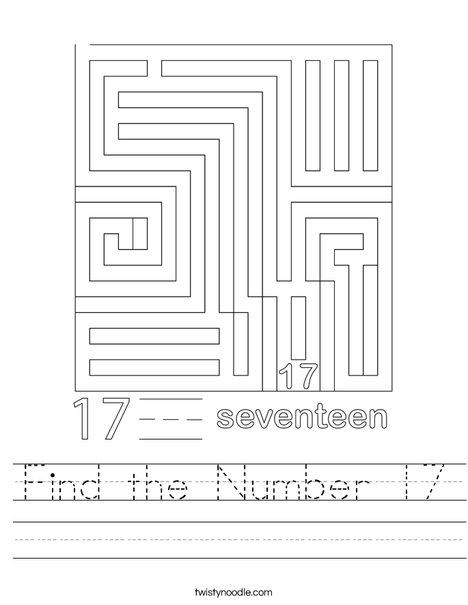 Find the Number 17 Worksheet