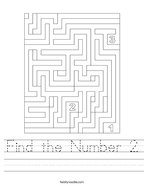 Find the Number 2 Handwriting Sheet
