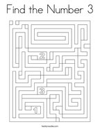 Find the Number 3 Coloring Page