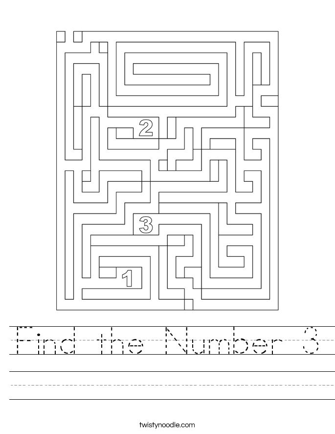 Find the Number 3 Worksheet