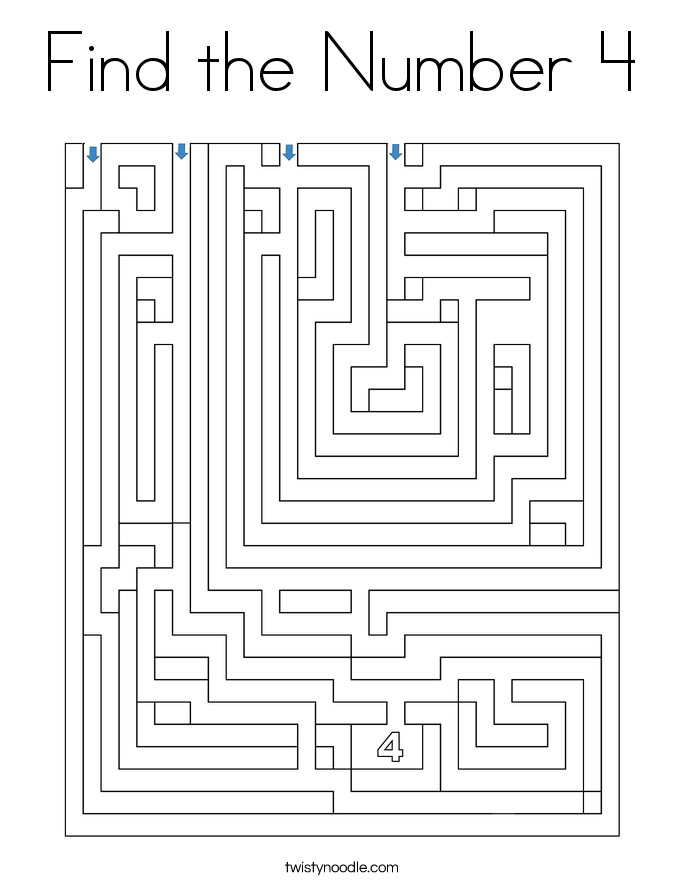 Find the Number 4 Coloring Page