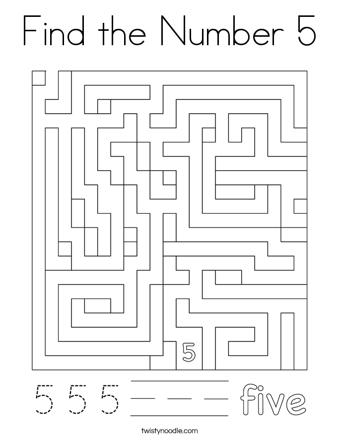 Find the Number 5 Coloring Page