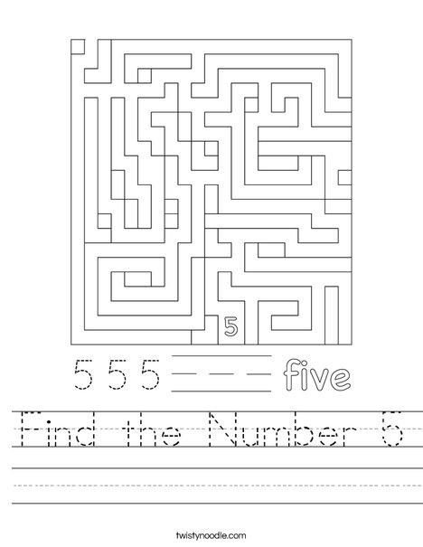 Find the Number 5 Worksheet