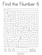 Find the Number 6 Coloring Page