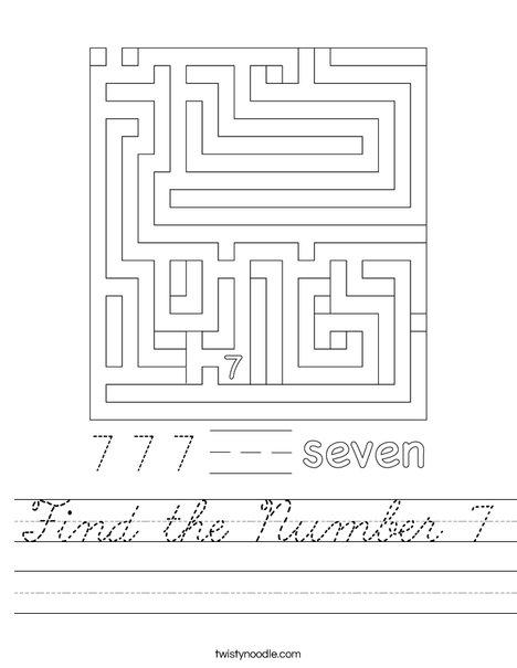 Find the Number 7 Worksheet