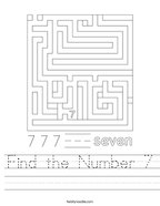 Find the Number 7 Handwriting Sheet