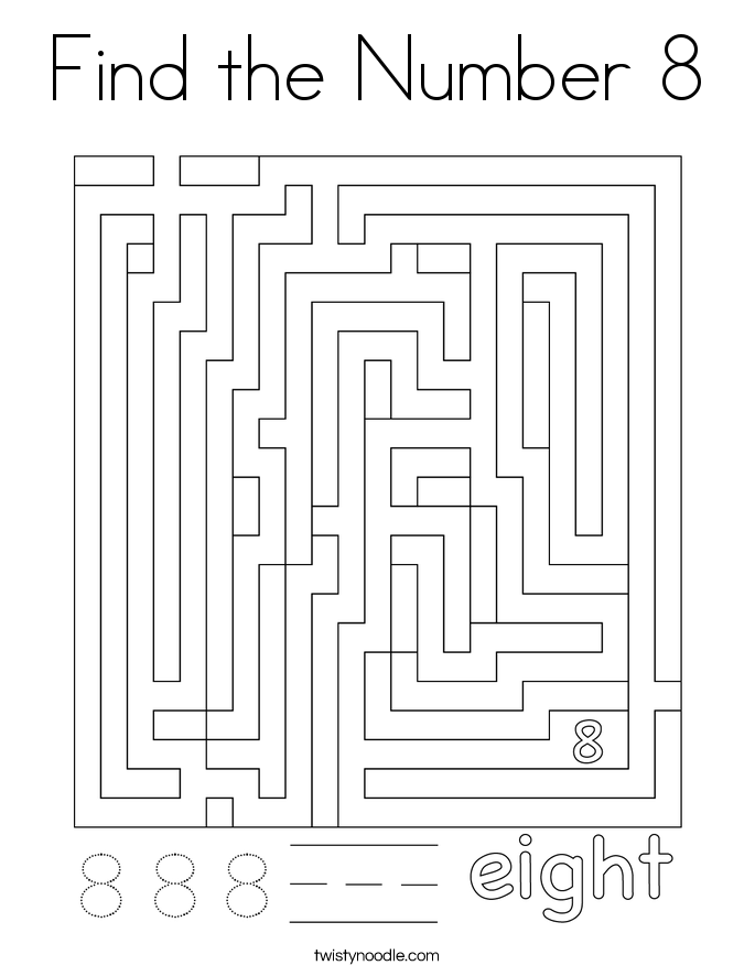 Find the Number 8 Coloring Page