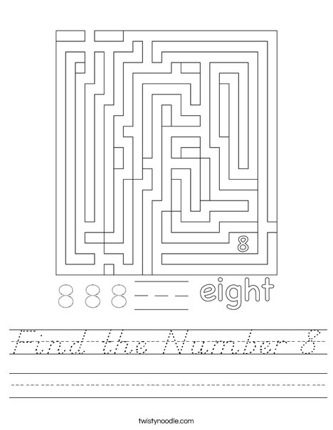 Find the Number 8 Worksheet