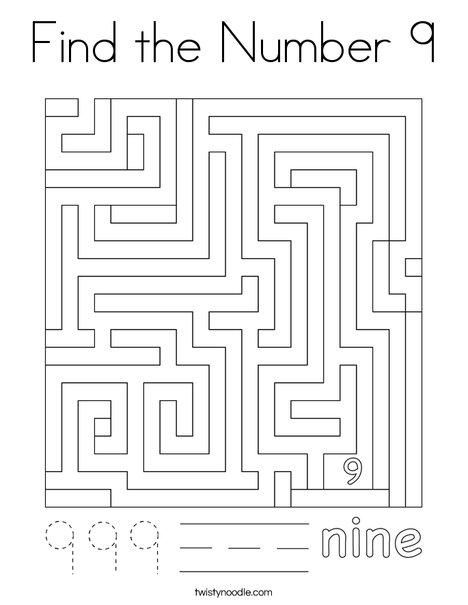 Find the Number 9 Coloring Page
