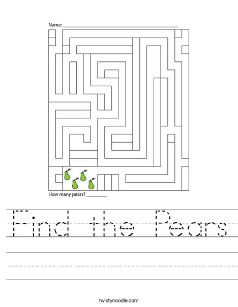 Find the Pears Worksheet