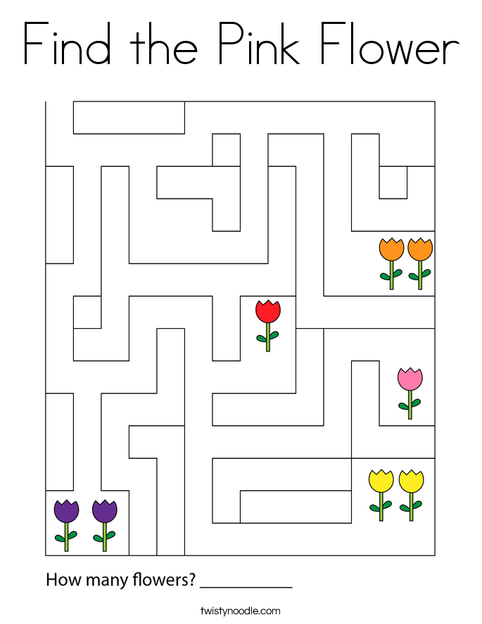 Find the Pink Flower Coloring Page