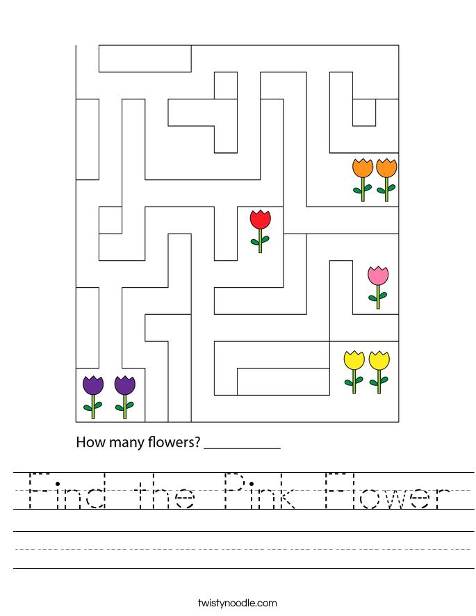 Find the Pink Flower Worksheet