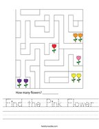 Find the Pink Flower Handwriting Sheet