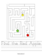 Find the Red Apple Handwriting Sheet