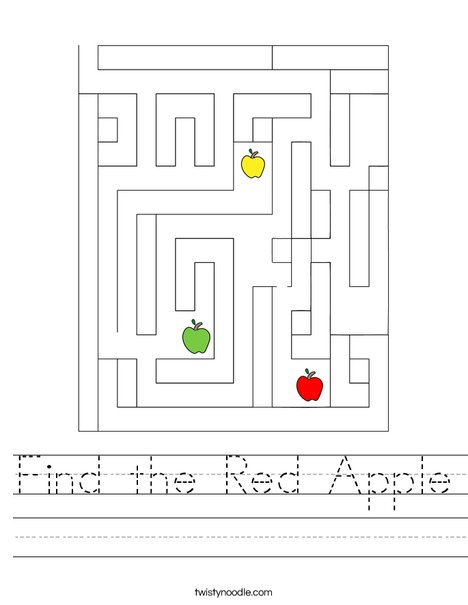 Find the Red Apple Worksheet