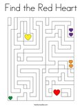 Find the Red Heart Coloring Page
