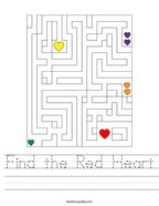 Find the Red Heart Handwriting Sheet