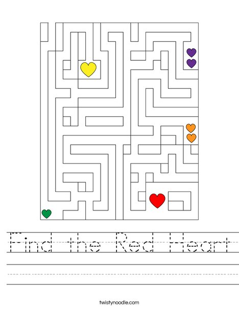 Find the Red Heart Worksheet