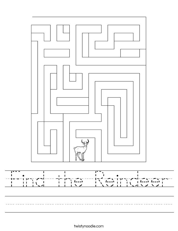 Find the Reindeer Worksheet