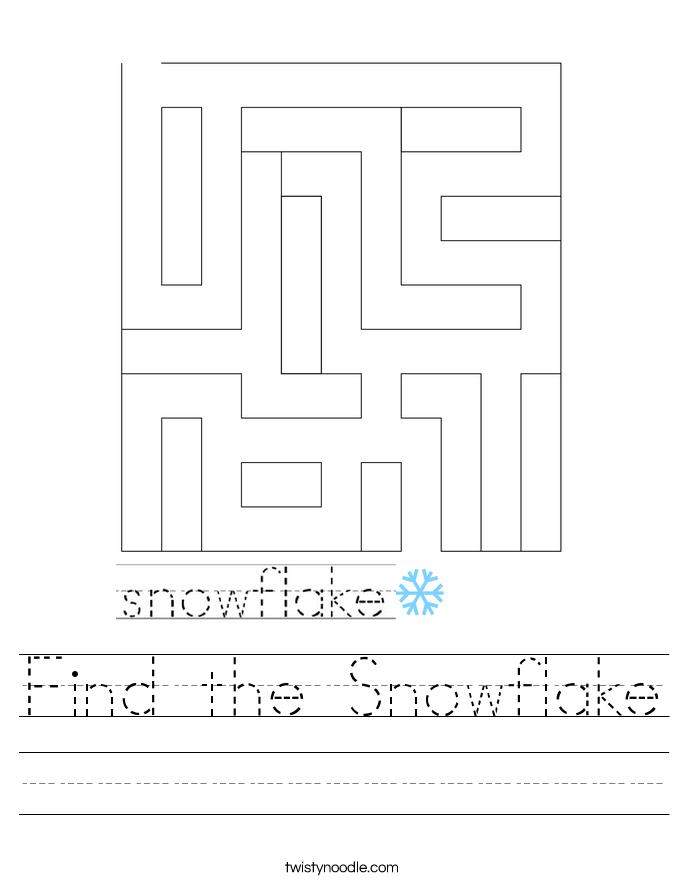Find the Snowflake Worksheet