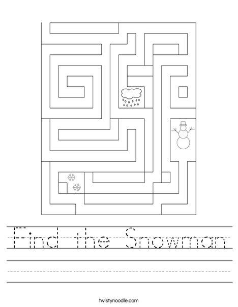 Find the Snowman Worksheet
