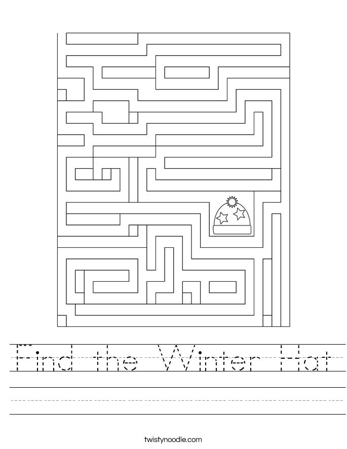 Find the Winter Hat Worksheet