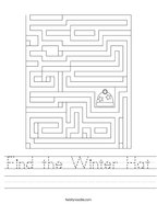 Find the Winter Hat Handwriting Sheet