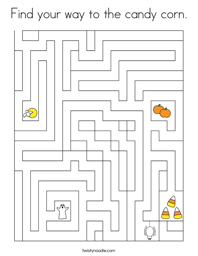 Find your way to the candy corn. Coloring Page