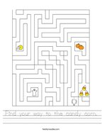 Find your way to the candy corn Handwriting Sheet