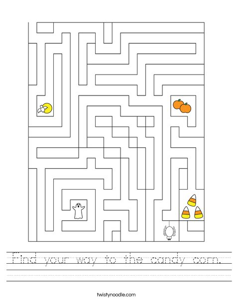 Find your way to the candy corn. Worksheet