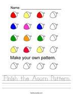 Finish the Acorn Pattern Handwriting Sheet