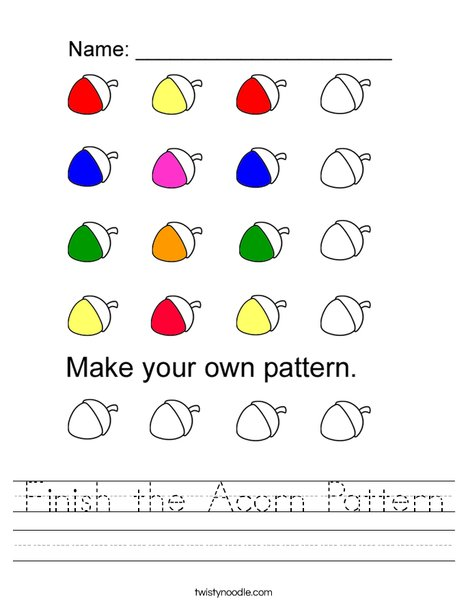 Finish the Acorn Pattern Worksheet