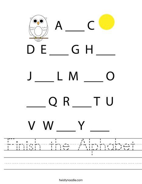 Finish the Alphabet. Worksheet