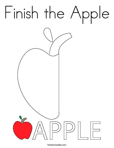 Finish the Apple Coloring Page - Twisty Noodle